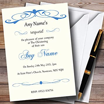 christening invites elegant blue swirl christening party