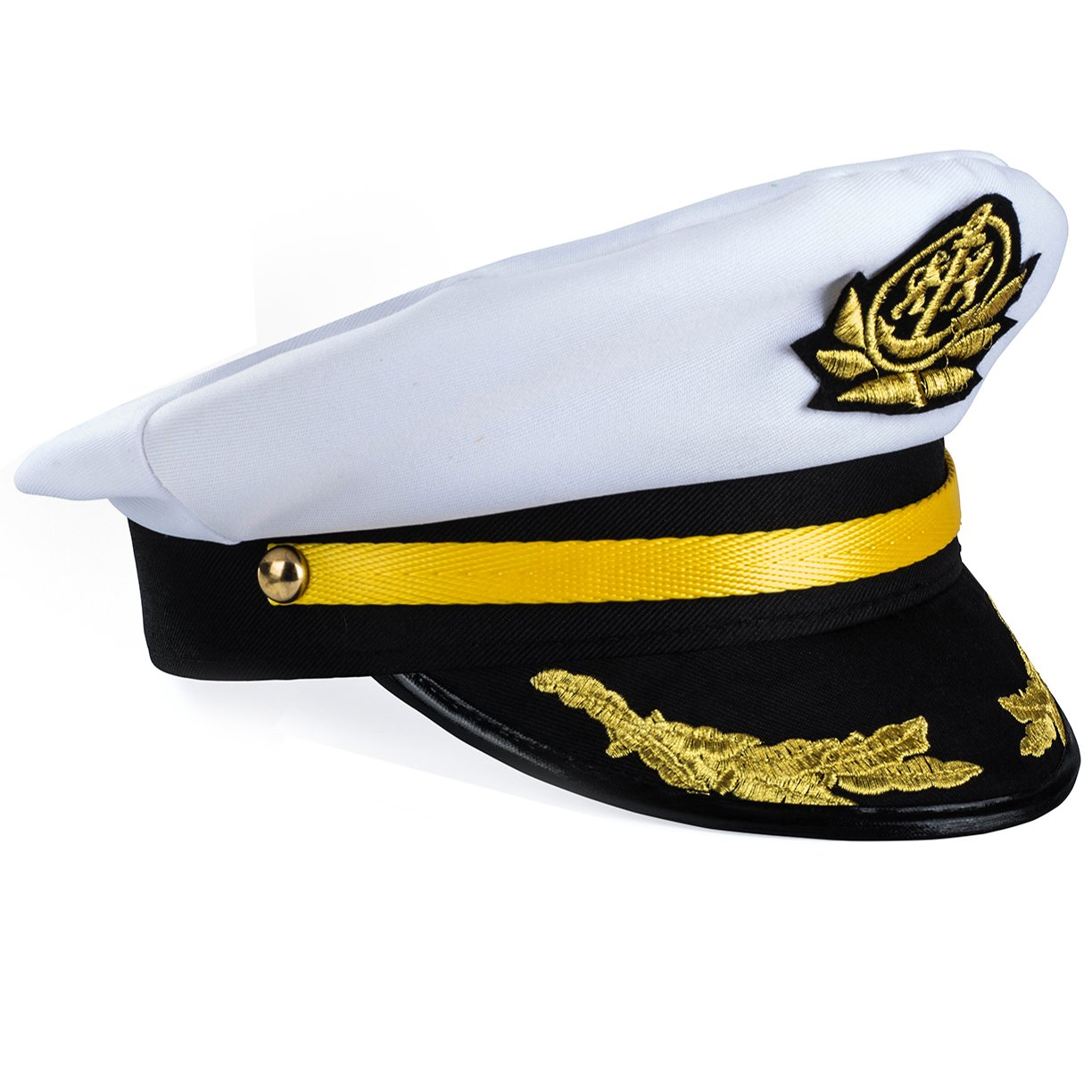 Yacht Captain Hat – Sailor Cap , Skipper Hat , Navy Marine Hat - Costume Accessories by Funny Party Hats am356