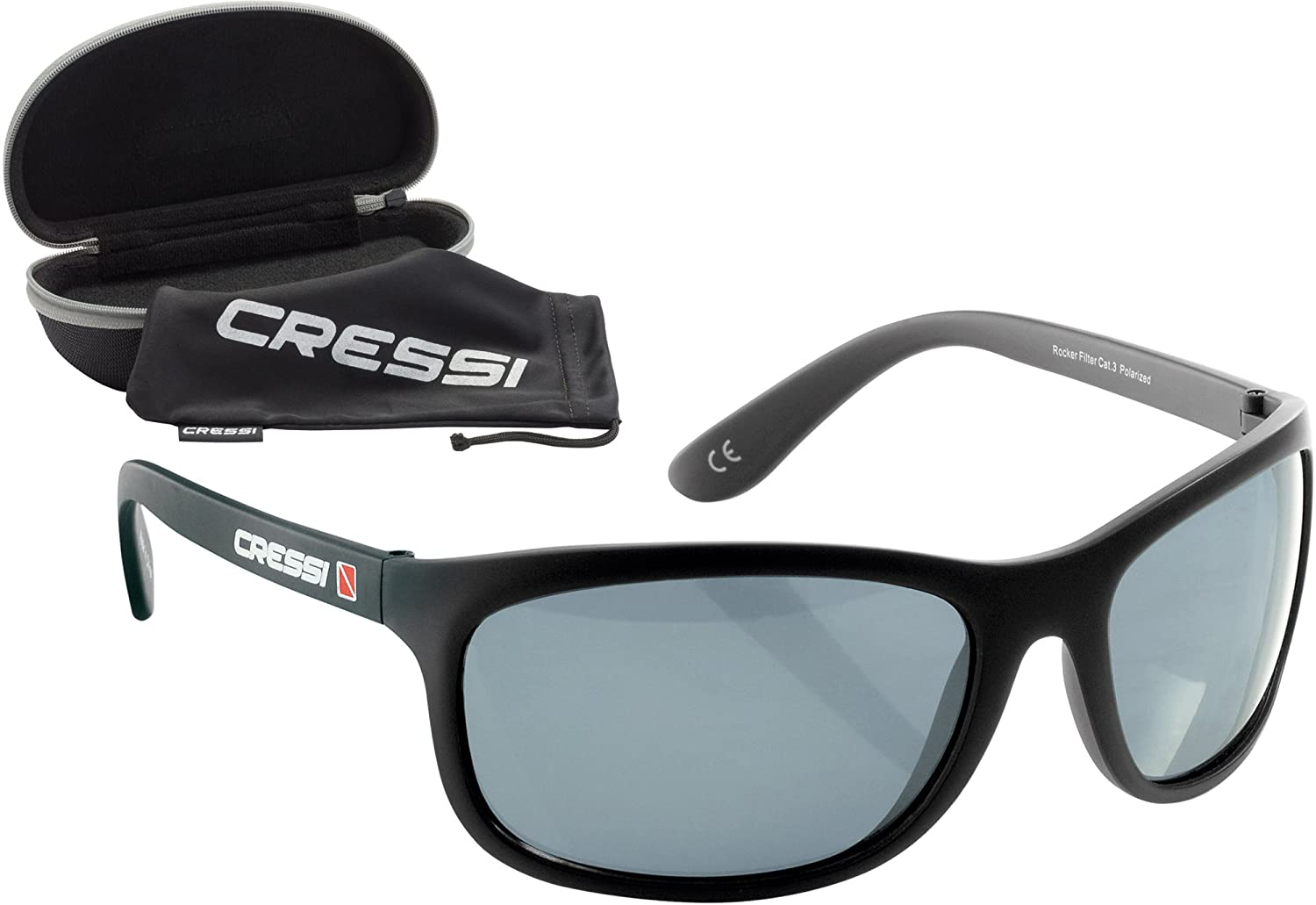Cressi Premium Sunglasses Shatterproof Polarized Lenses with 100% UV Protection Black/Grey Lens XDB100133