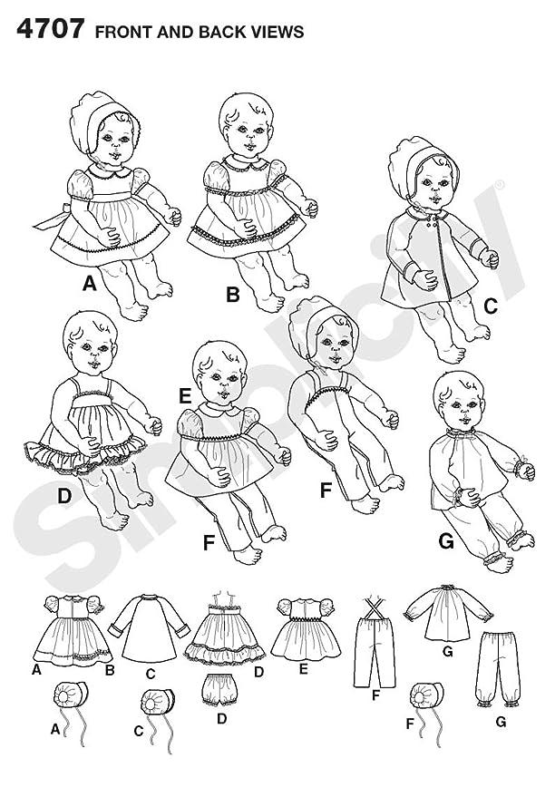 Simplicity 4707 - Patrón de costura para ropa de muñecas /(todos los ...