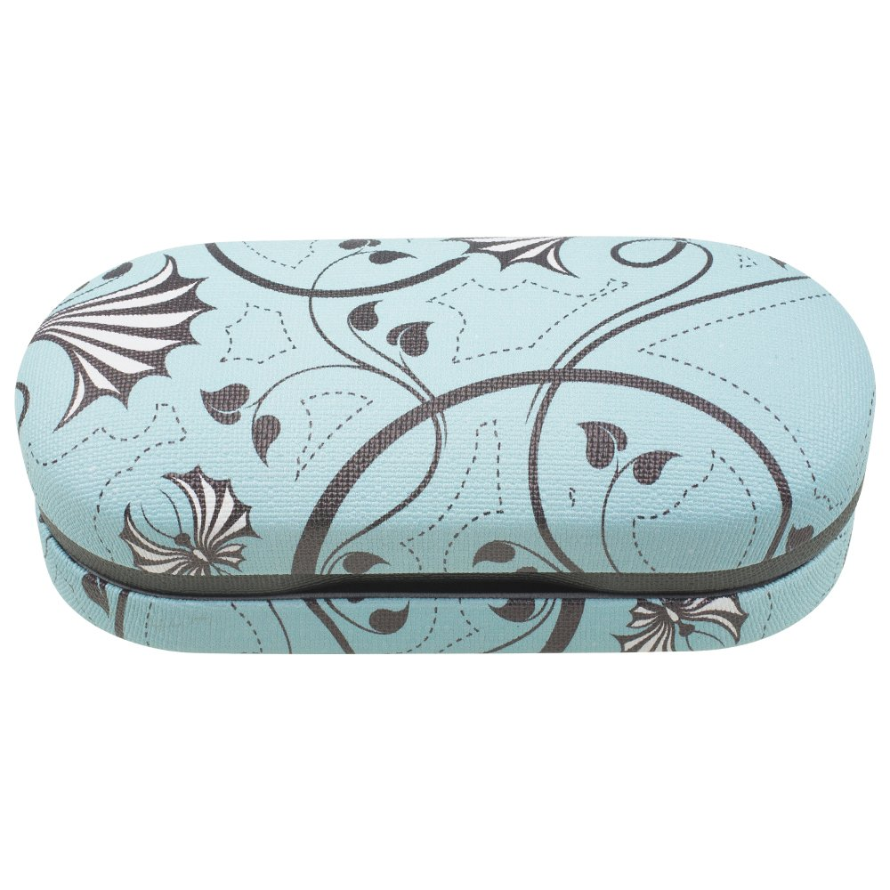 Dual Glasses Case for Two Frames - Double Layer Clamshell Hard Protective Case with Soft Felt Interior with Built-In Mirror – Blue and Gray Floral Swirl Canvas Print - By OptiPlix by OptiPlix (Image #1)