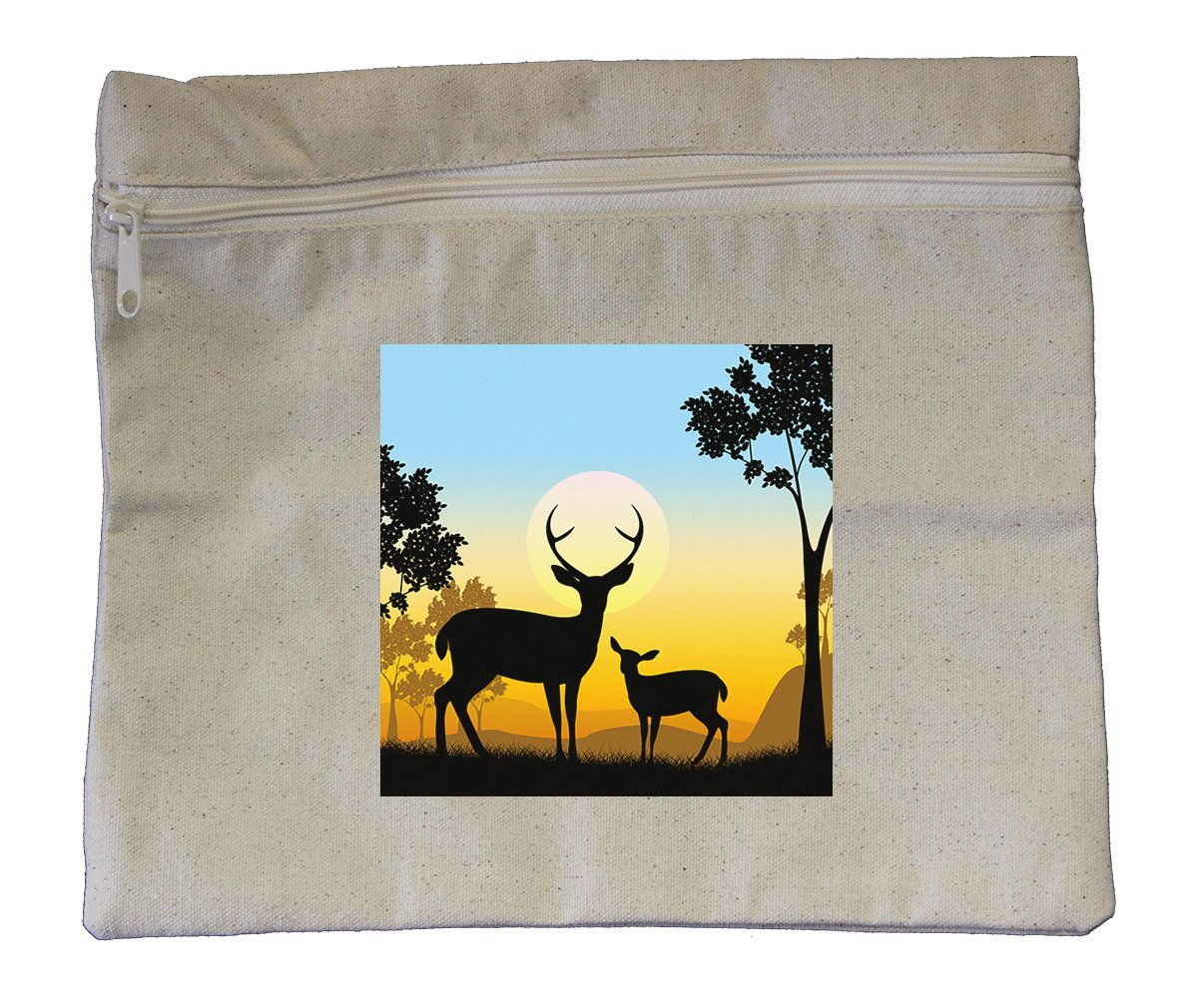 Canvas Zipper Pouch 10''X12'' Deer Wildlife Safari Animals Evening Style In Print