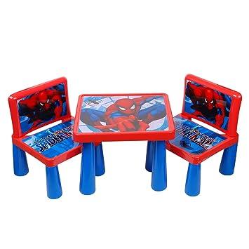 Table Chaise Enfant Ensemble Jardin Plastique En Dessin Spiderman Disney De Haute Qualite Neuf 19