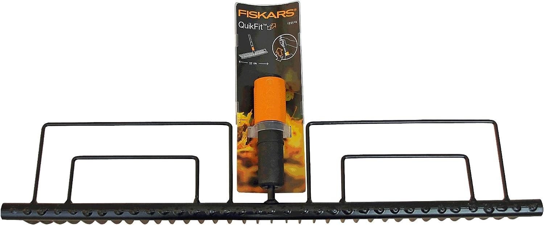 22 dents Noir//Orange Dents en acier Largeur: 43 cm 1000644 QuikFit Fiskars Balai /à feuilles T/ête doutil QuikFit