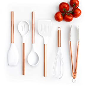 White Silicone and Copper Cooking Utensils for Modern Cooking and Serving, Stainless Steel Copper Serving Utensils Ideal Spatulas for Non Stick Cookware