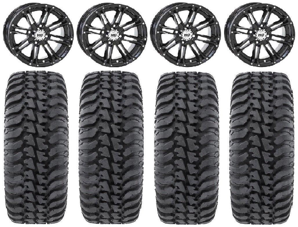 Bundle - 9 Items: STI HD3 14'' Wheels Black 28'' Regulator Tires [4x137 Bolt Pattern 10mmx1.25 Lug Kit]