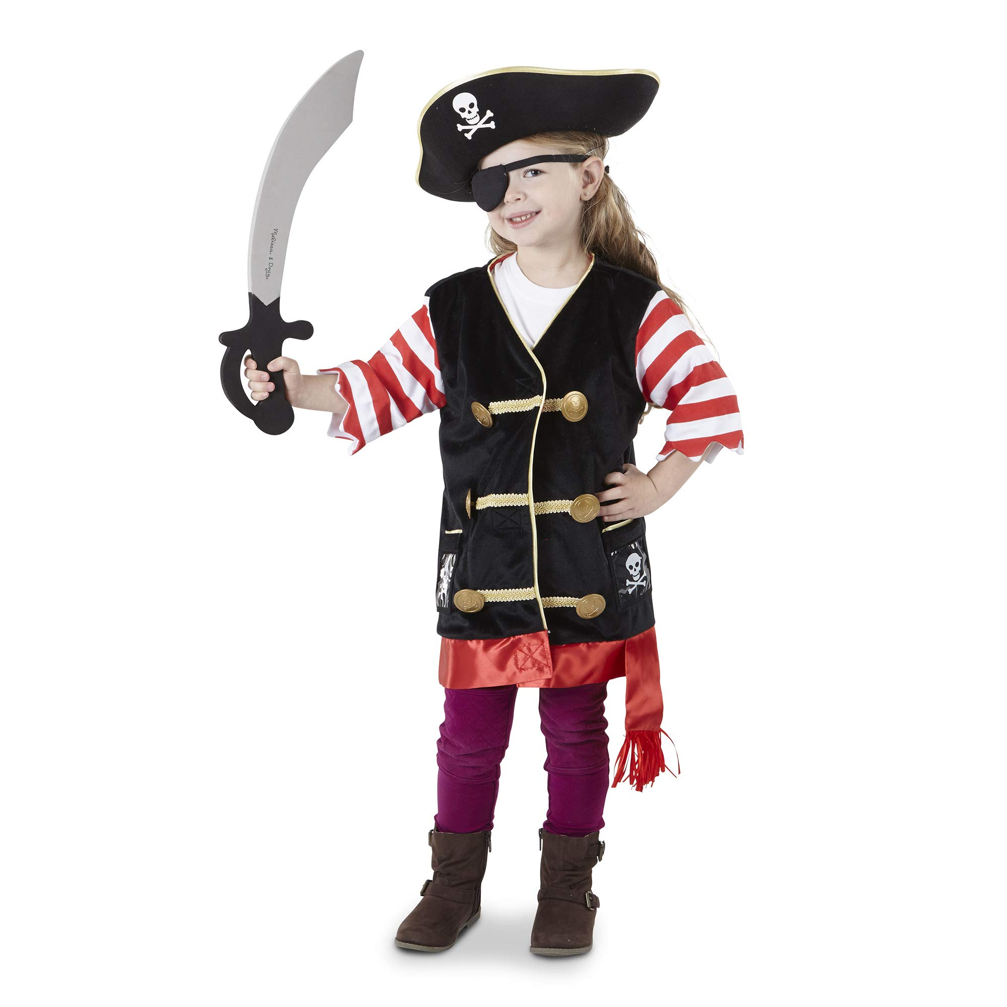 df8c4c5d8 Melissa & Doug Pirate Role Play Costume Set, Pretend Play,, Machine  Washable, 55.118 cm H x 43.18 cm W x 10.668 L