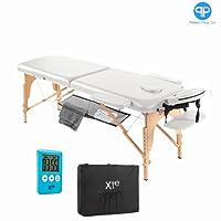 Table de massage, 2zones, en bois, portable Bianco