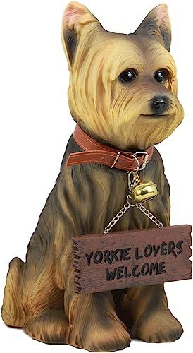 Ebros Gift Realistic Yorkie Dog Statue 12.5″ H Yorkshire Terrier Figurine