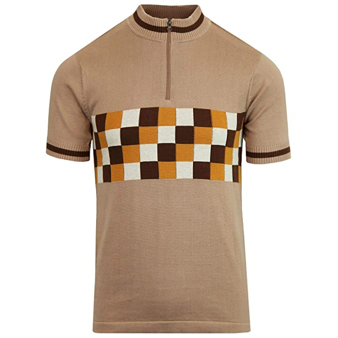 1960s – 70s Mens Shirts- Disco Shirts, Hippie Shirts Madcap England Coppi Mens Retro 60s Checkerboard Cycling Top in Almondine �34.99 AT vintagedancer.com