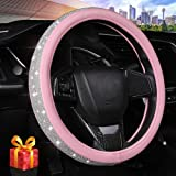 Bling Diamond Leather Steering Wheel Cover for Women Girls with Crystal Rhinestones, Universal Fit 15 Inch Car Steering Wheel