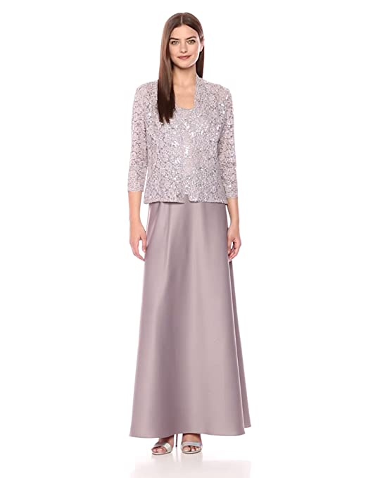 ef78b6661e4 Alex Evenings Women s Two Piece Long Lace Jacket Dress With Satin Skirt at Amazon  Women s Clothing store