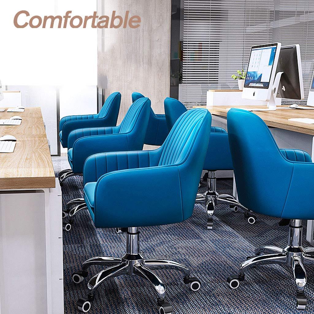Svängbar stol justerbar kontorsstol konferensrum uppgift skrivbord stolar med andningsbar mjuk flanell hållbara underlägg elegant hög rygg, för sovrum blå BLÅ