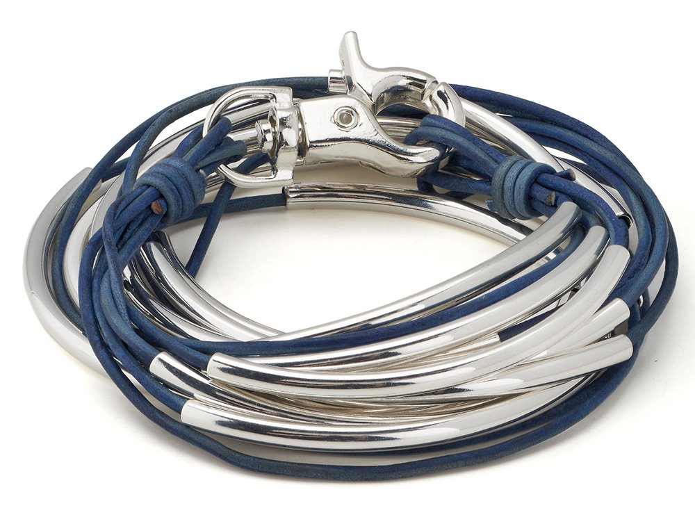 """Lizzy Classic Silverplated 5 Strand Natural True Blue Leather Wrap Bracelet (XLarge (7 1/8'' - 7 3/8""""))"""