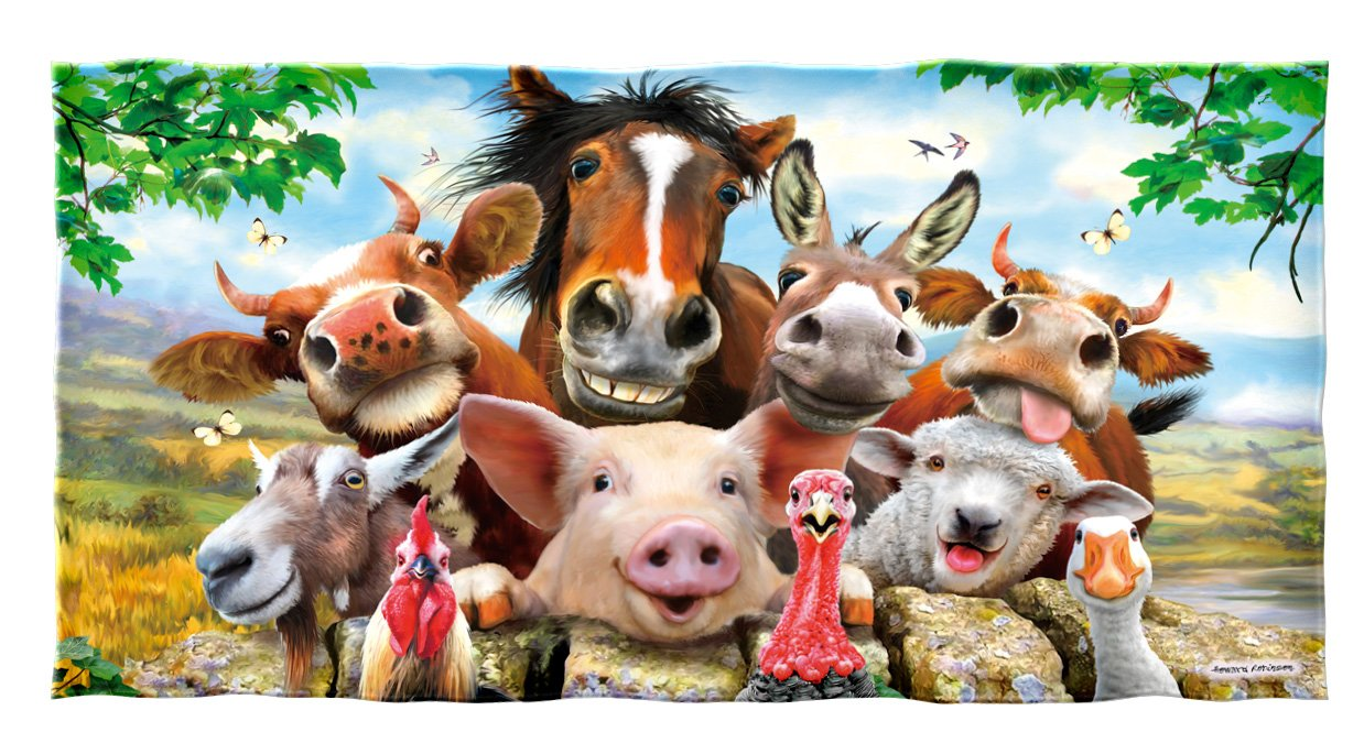 Farm Animals Selfie Cotton Beach Towel