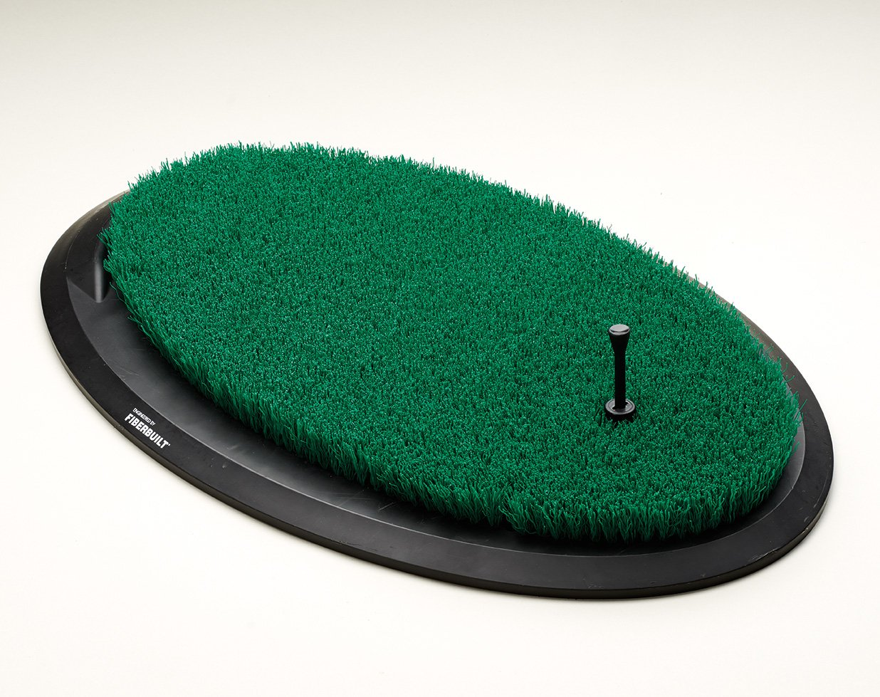Fiberbuilt Flight Deck Golf Hitting Mat - Oval Shape Outdoor/Indoor Real Grass-Like Performance Golf Mat with Durable Adjustable Height Tee, Black/Green, 21.25'' x 13.5'' x 1.75''