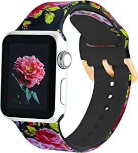 PROSRAT Floral Bands Compatible with Apple Watch 38mm 40mm 42mm 44mm for Women Men,Silicone Flower Pattern Printed Wristband for iWatch Series SE/6/5/4/3/2/1 (42mm/44mm, Pink Flower)