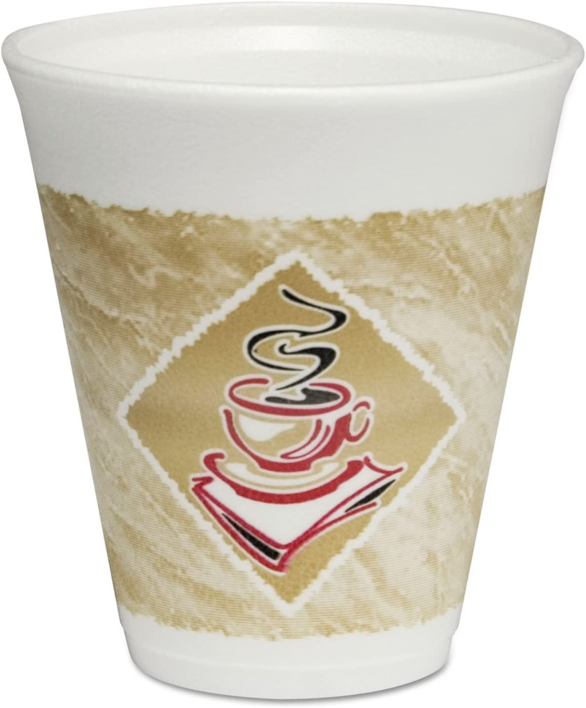 DART CONTAINER CORPORATION 12X16G Thermo-Glaze Cafe G Styrofoam Coffee Cups (1000 Per Case), Red/Brown/Black, 12 oz