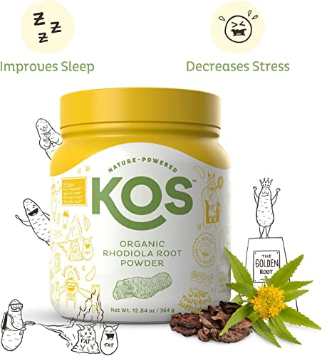 KOS Organic Rhodiola Root Powder – Natural Adaptogen Rhodiola Rosea Root Powder – USDA Organic, Improves Sleep, Decreases Stress Anxiety, Pant Based Ingredient, 364g, 104 Servings