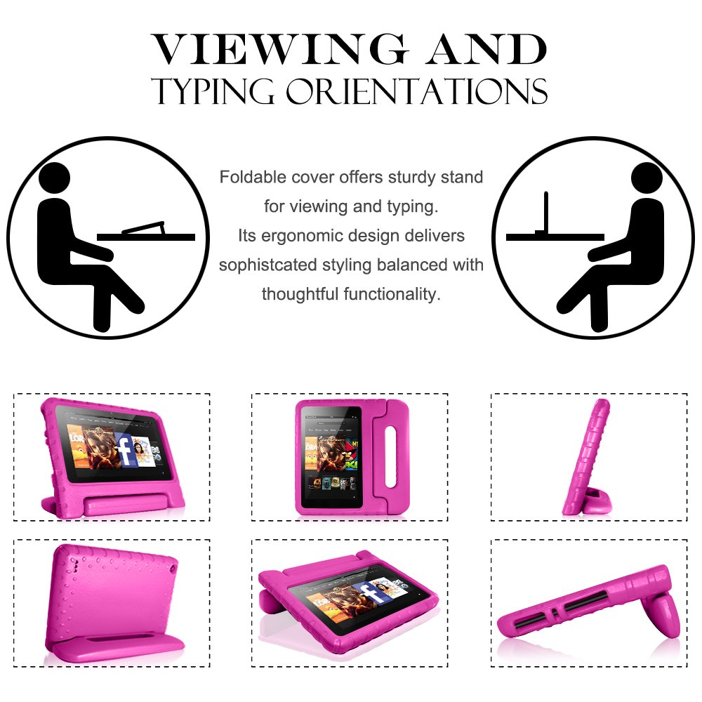 Tablet All-New Fine 7 2015 Case with Screen Protector & Stylus, AFUNTA Convertible Handle EVA Protective Case, PET Plastic Cover & Touch Pen Compatible 7 inch Tablet (5th Generation 2015 Release)-Rose by AFUNTA (Image #4)