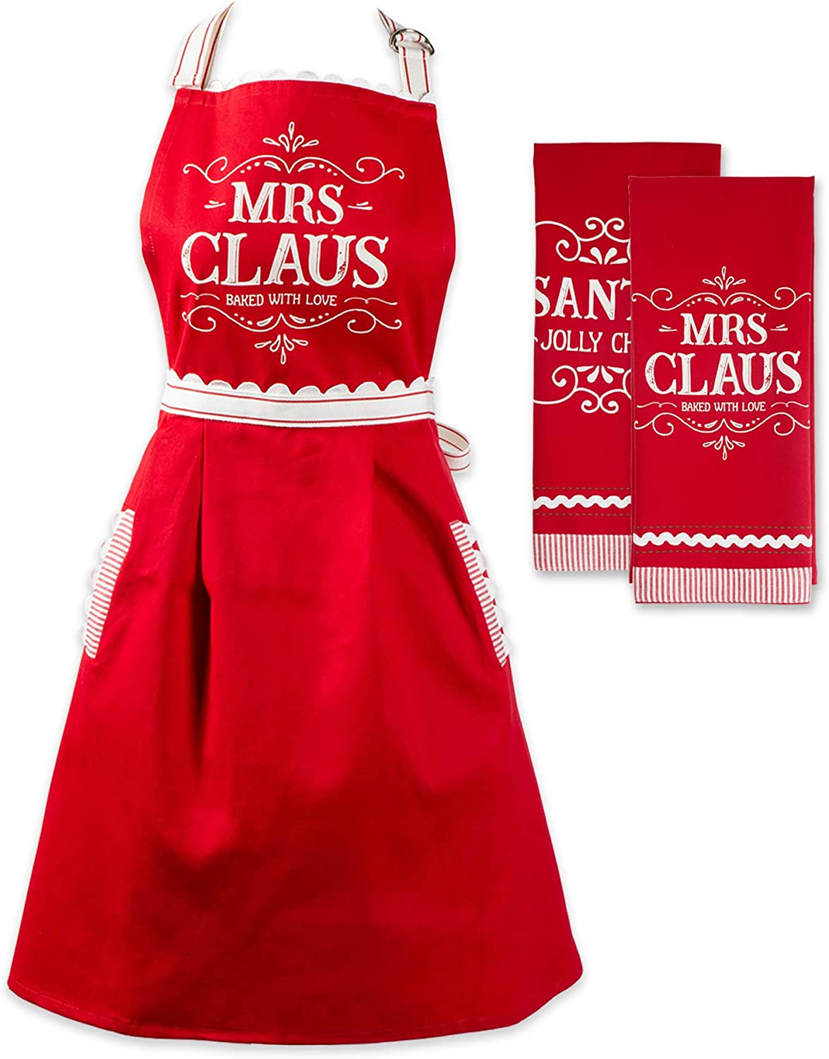 DII North Pole Holiday Chef Collection Claus 3 Piece Kitchen Set Mrs