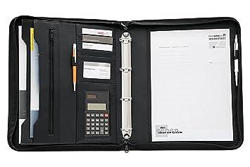 Wedo - Organizador (calculadora solar, archivador de 4 anillas, tamaño A4, soporte para documentos, tarjetero, cierre con cremallera), color negro: ...