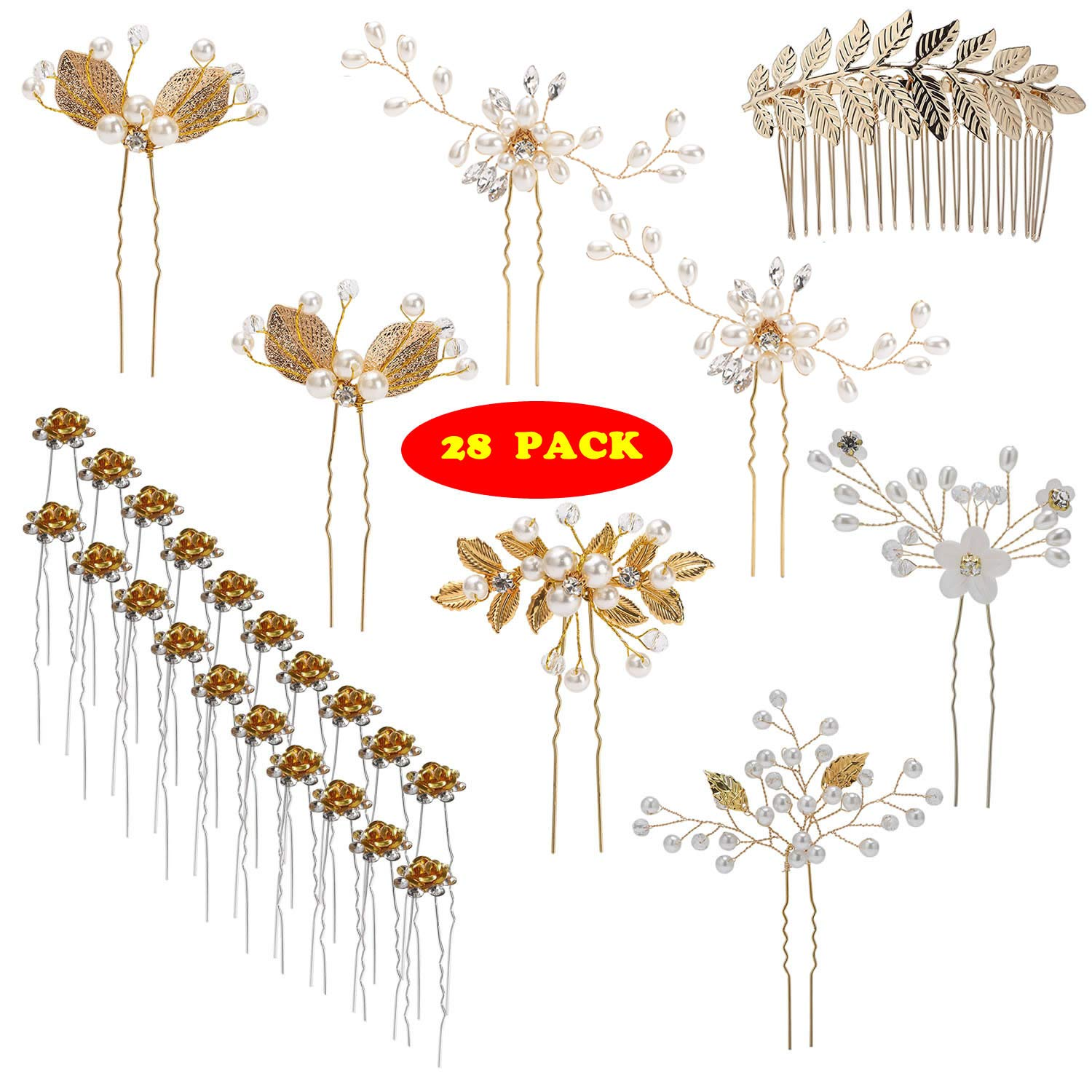 inSowni 28 Pack Wedding Bridal Hair Side Combs+U Shaped Hair Pins Clips Pieces Accessories Rhinestone Pearl Flower Gold for Women Girls Bridsmaids by inSowni