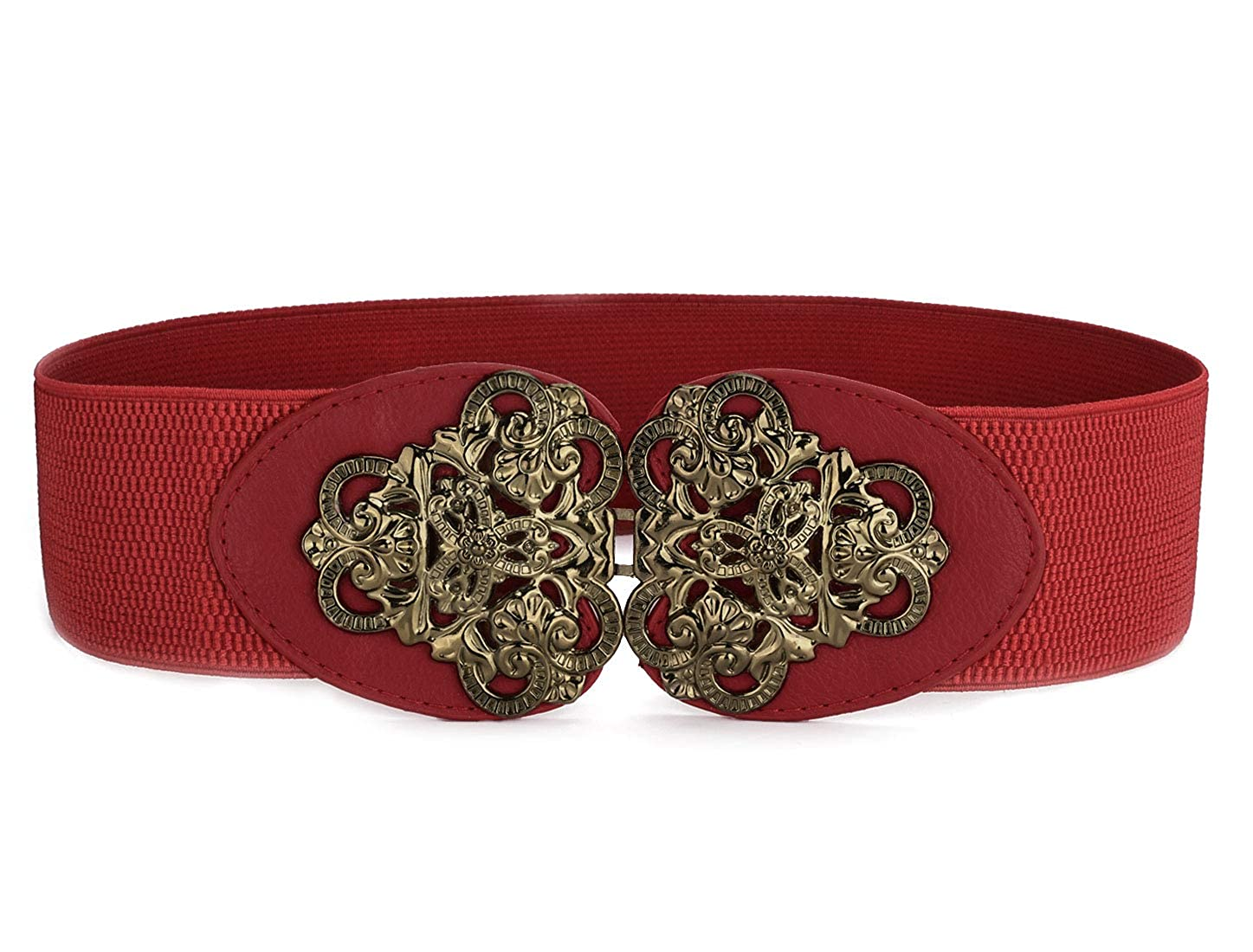 Single Pin Metal Buckle Red Women Rubber Stretch Belt X-Large 6 COLORS CHOOSE