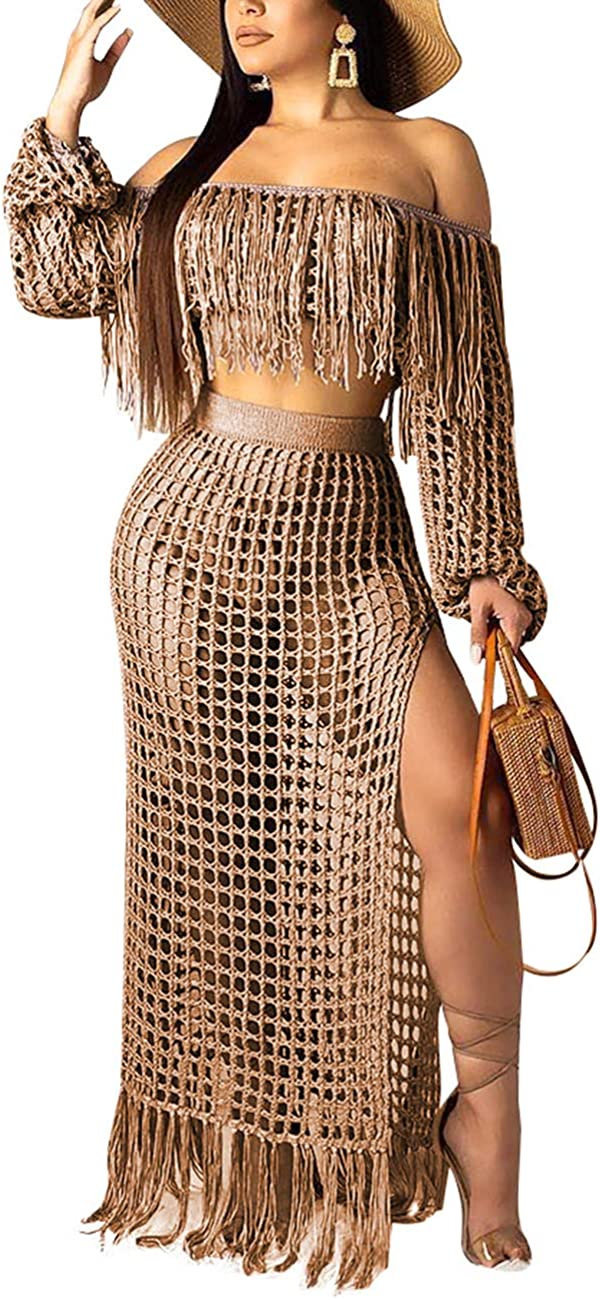 Maxi Side Split Skirt 2 Piece Tassels Outfits MONASAMA Women Hollow Out Off Shoulder Fishnet Crop Top