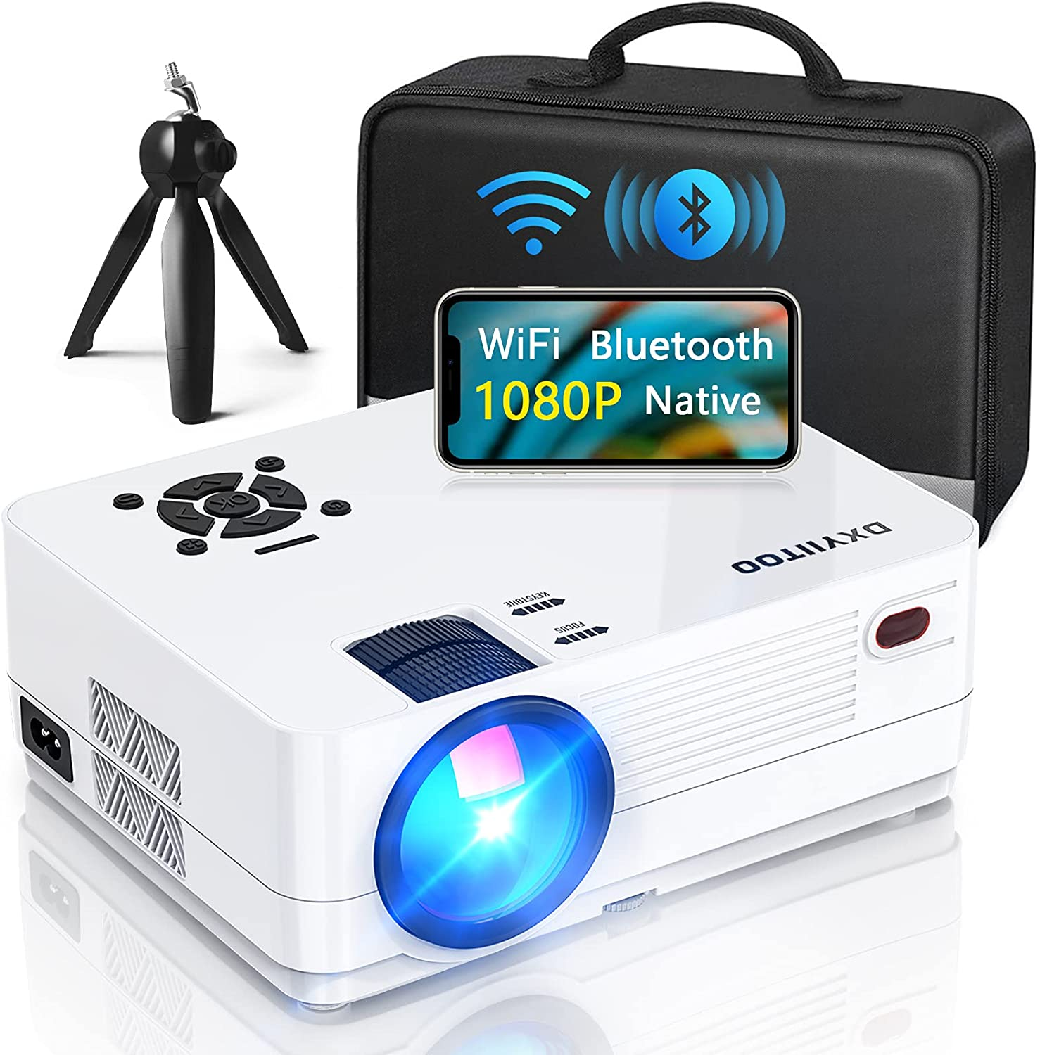 Native 1080P Projector with WiFi and Two-Way Bluetooth, Full HD Movie Projector for Outdoor Movies, 300