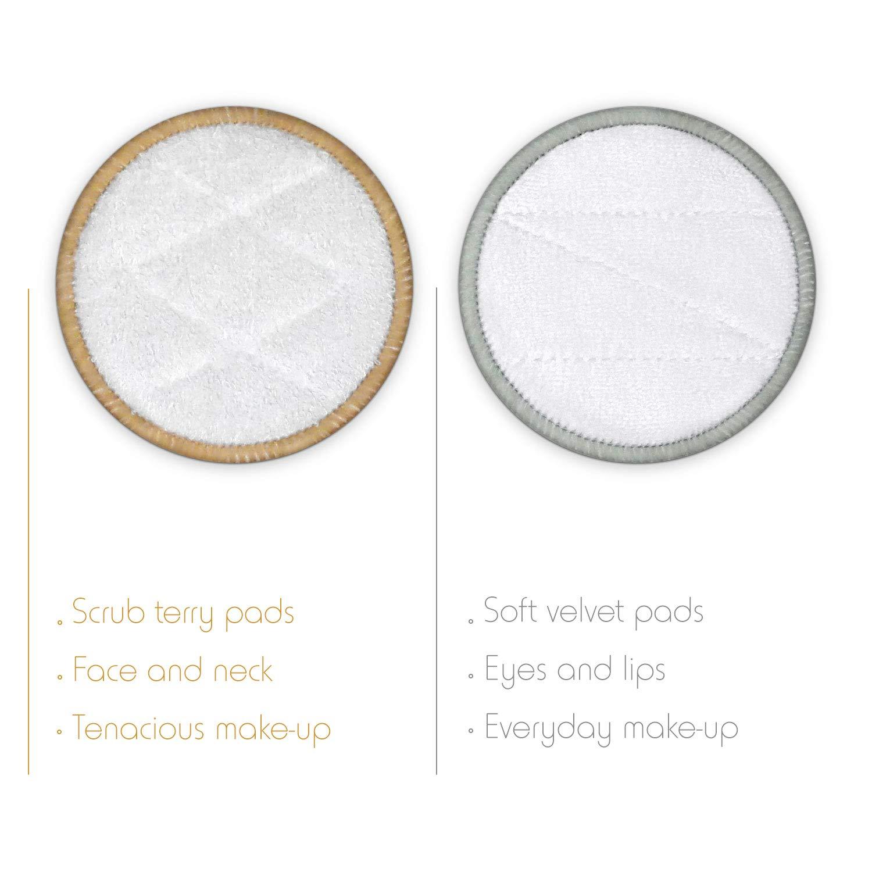 22 Pads und Waschbeutel Bambaw Wiederverwendbare Wattepads mit 2 Aufbewahrungs