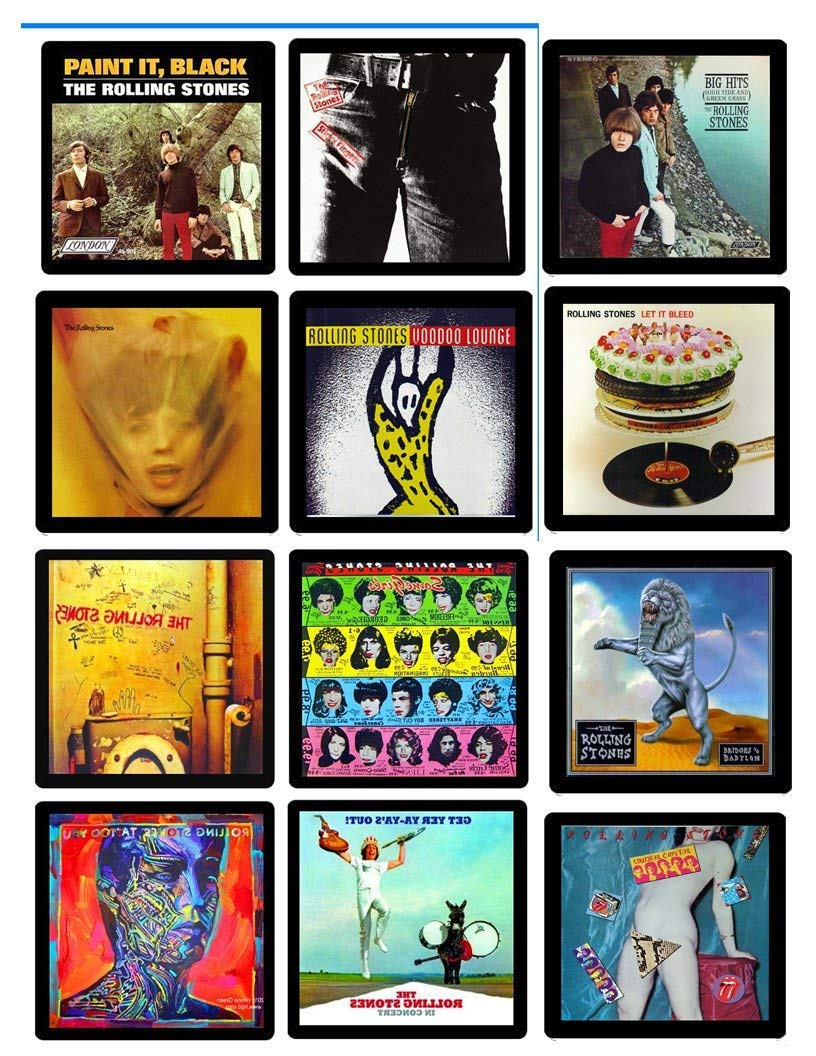 Rolling Stones Collectible Coaster MEGA Gift Set ~ (12) Different Album Covers Reproduced on Soft Pliable Coasters