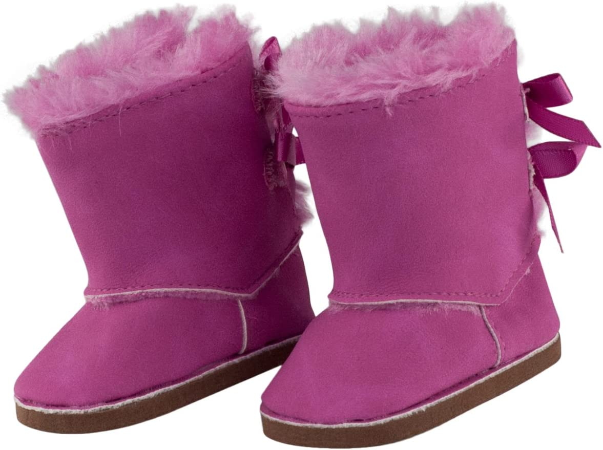 """PINK Fur Boots fits 18/"""" American Girl Dolls shoes"""