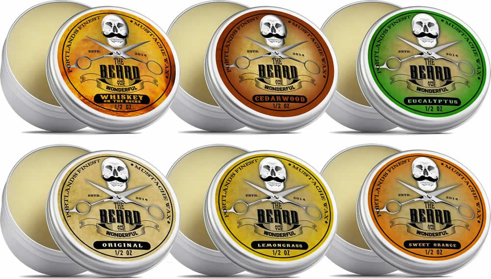 Moustache Wax Collection 6 Tins x 15ml - Cedarwood, Whiskey on The Rocks, Sweet Orange, Eucalyptus, Lemongrass and Original Lo-Scent. for Styling Twists,Points & Curls - The Beard and The Wonderful