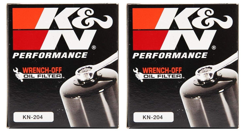 K&N KN-204 Motorcycle/Powersports High Performance Oil Filter Black, 2 Pack