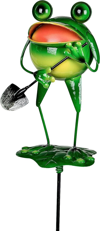 dekojohnson Moderne Gartendeko Gartenstecker Dekostecker Frosch auf Blatt mit Schaufel Pflanzenstecker Beetstecker Metallstecker 80 cm
