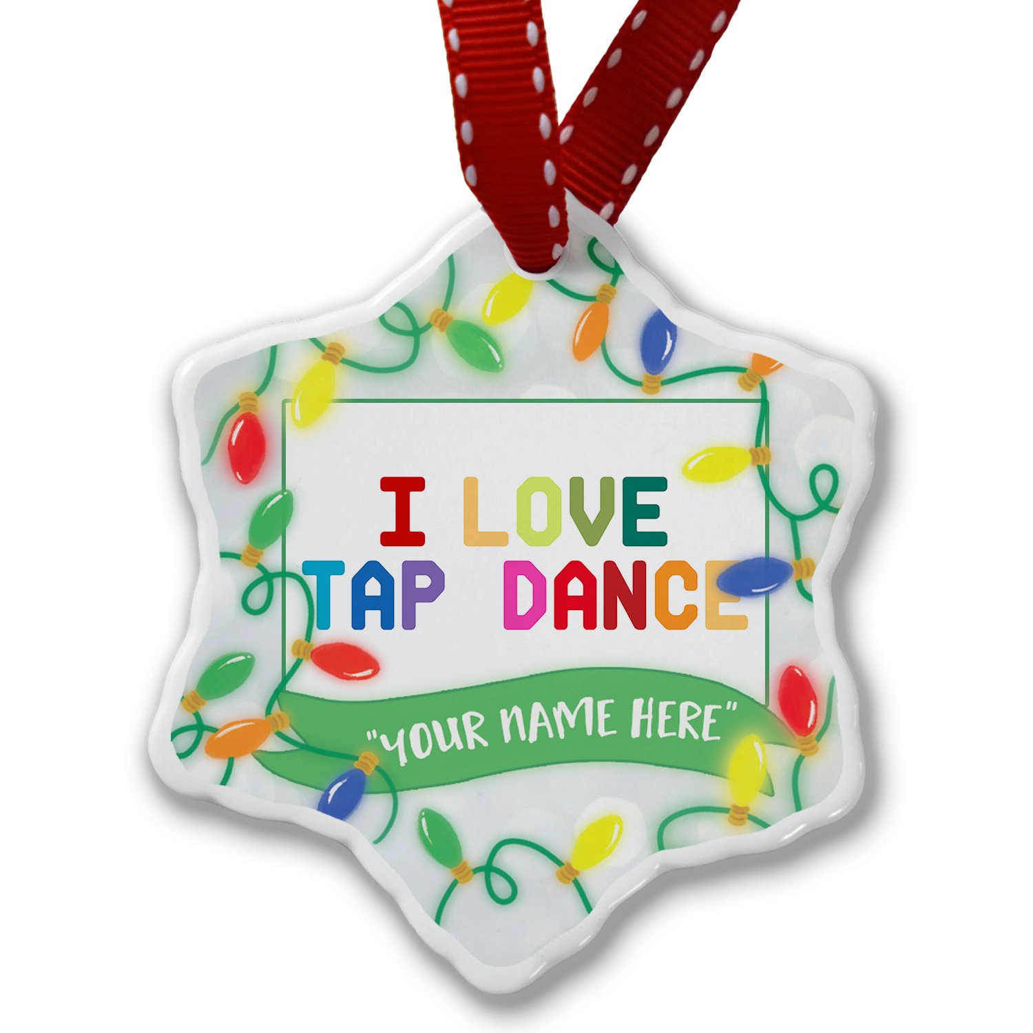 Personalized Name Christmas Ornament, I Love Tap Dance,Colorful NEONBLOND