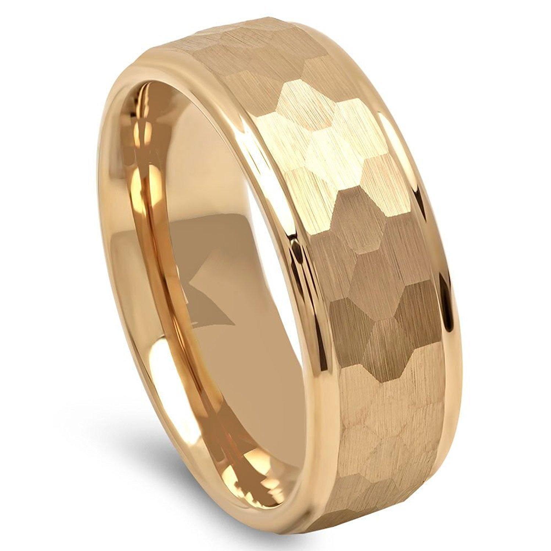 Modern Hammer Tungsten Wedding Ring (Gold) - 8