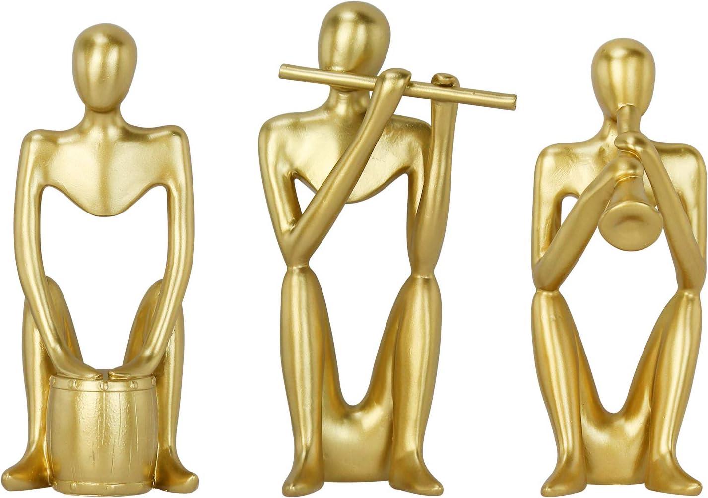 Creproly Resin Sculpture Art Small Sculpture Gold Abstract Statue Figurine Kit Home Office Desktop Bookshelf Decor 3Pcs (Band)