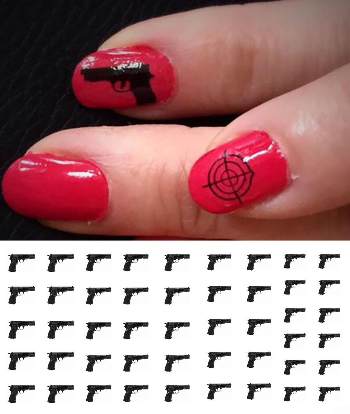 Amazon.com: Hand Gun / Weapons Water Slide Nail Art Decals - Guns ...