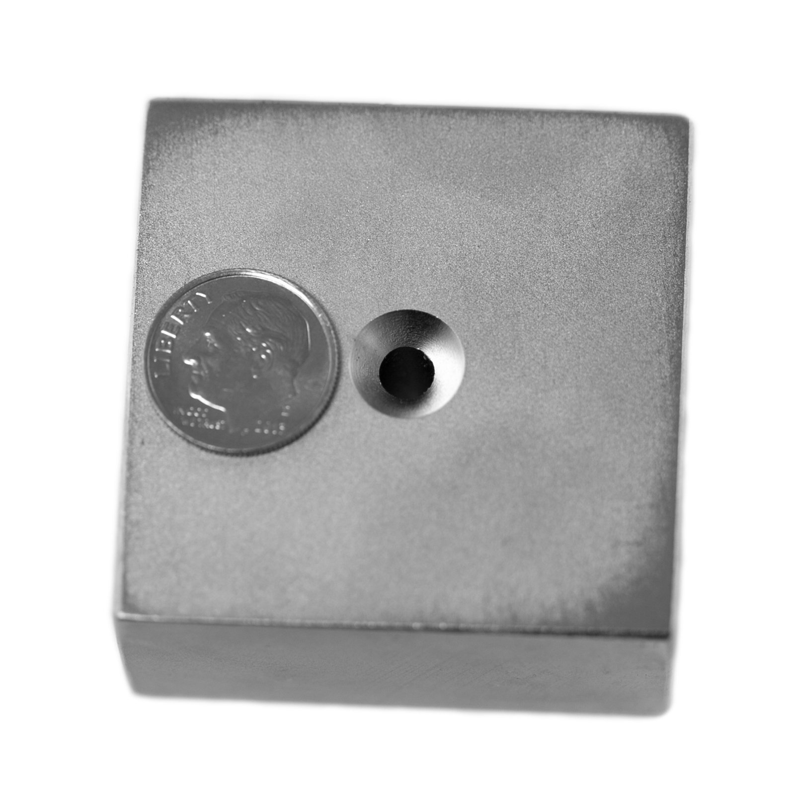 Applied Magnets 2'' x 2'' x 1'' Dual Sided Countersunk Grade N42 Neodymium Block Magnet