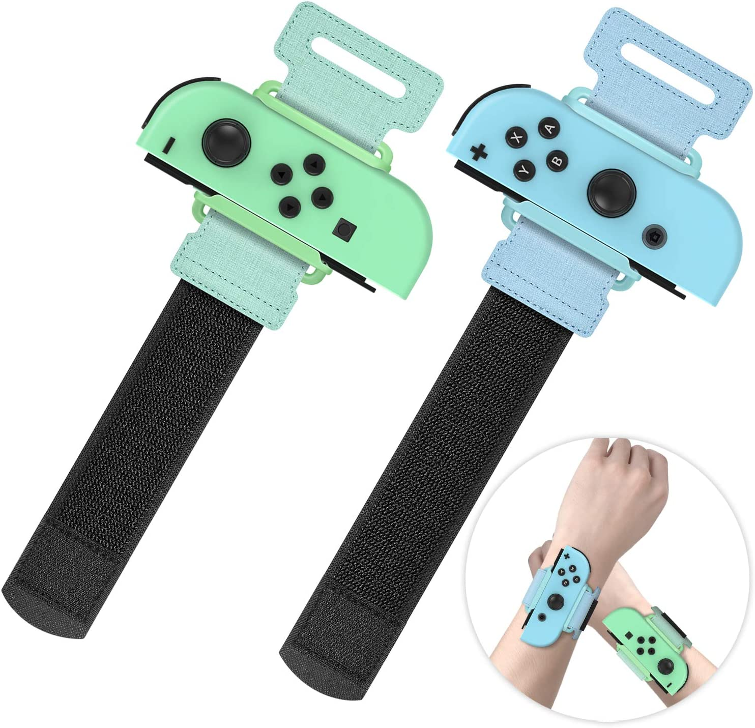 Upgraded Wrist Bands for Just Dance 2020 Nintendo Switch, YUANHOT Adjustable Elastic Dance Straps for Switch Joy-Con Controllers, 2 Pack for Kids and Adults - Green/Blue