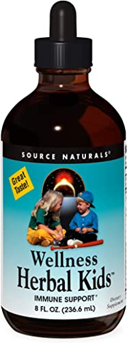 Source Naturals Wellness Herbal Kids Liquid Immune Defense Supplement Immunity Booster with Echinacea, Elderberry Yin Chiao - 8 OZ