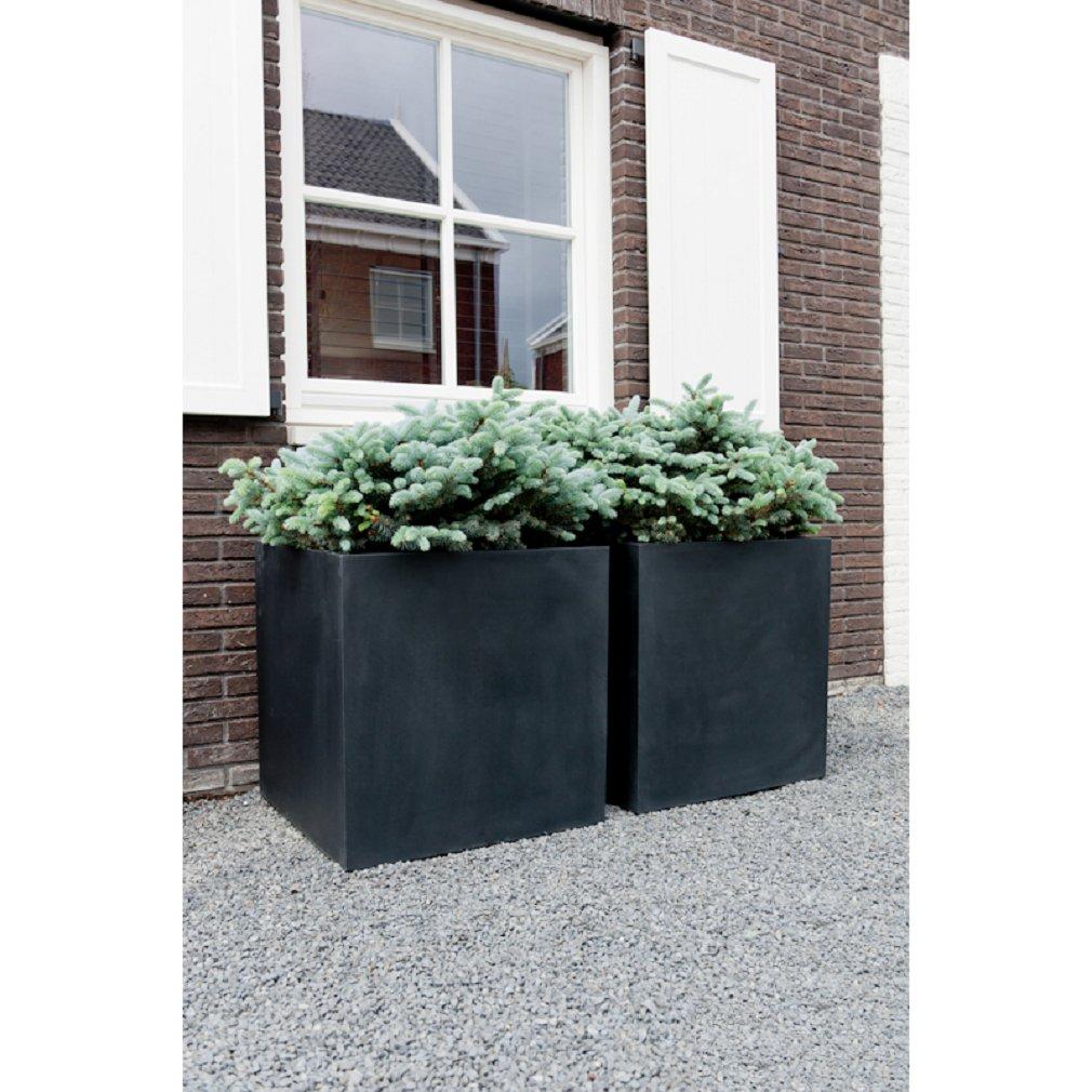 Pottery Pots Square Black Planter Box   Elegant Fiberstone Cube Planter Pot - Inner Size 16x16x16