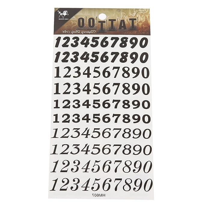 Chic Net Tattoo Schwarz Zahlen 10 Reihen 0 9 Diverse Schriftarten