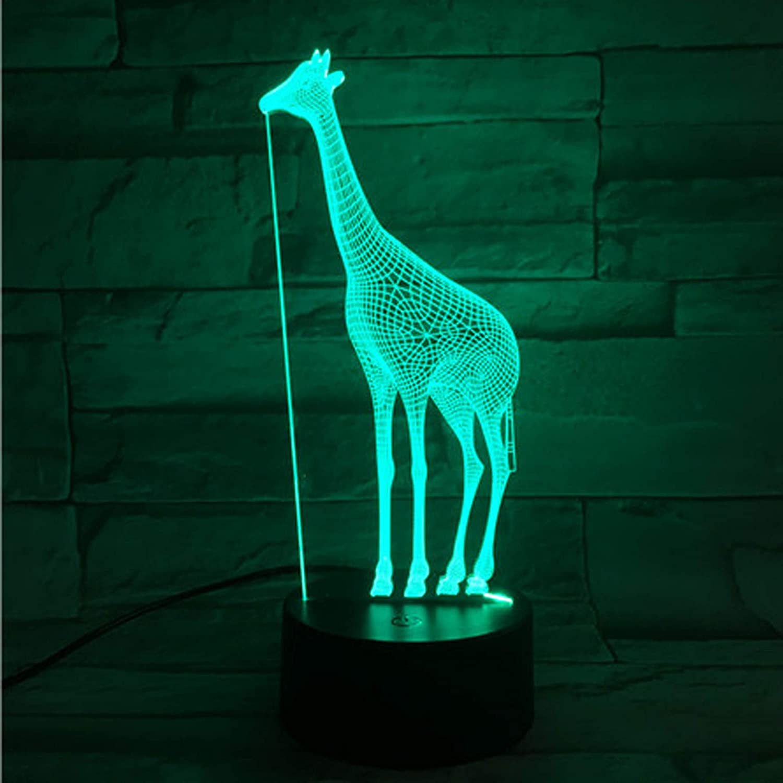 Xdorra Giraffe Acrylic 3D Night Lights USB LED Table Lamp Home r2d2 3D Arts Lamp - 7 Colors Changing Bedroom Decor Night Light Gifts (Giraffe)