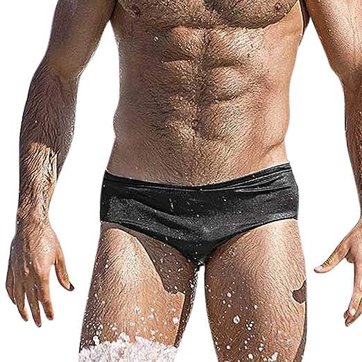 a61ea6fe7c9b8 Men Swimwear Bikini Casual Solid Color Swim Brief Swimsuits Boxer Trunks  Beach Shorts (S,