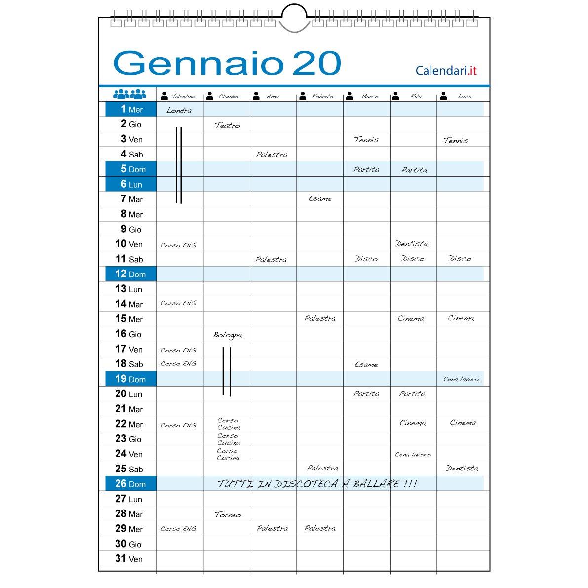 Calendario 2020 FAMIGLIA da muro o LAVORO per 7 persone con 7 colonne