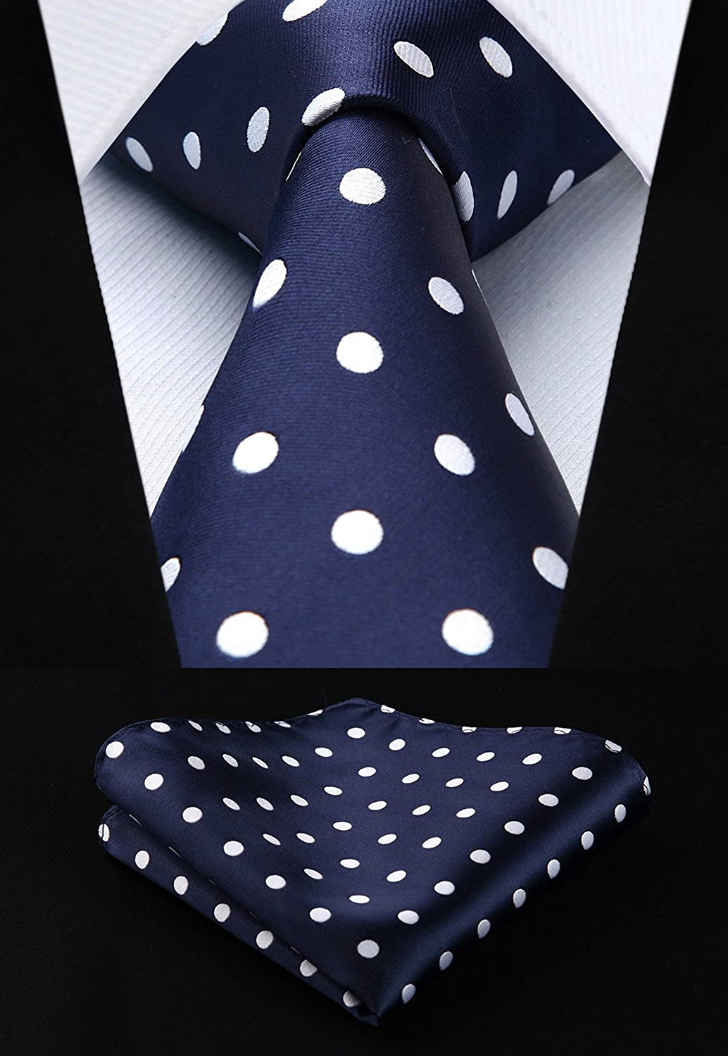 HISDERN Dot Floral Wedding Tie Handkerchief Men's Necktie & Pocket Square Set
