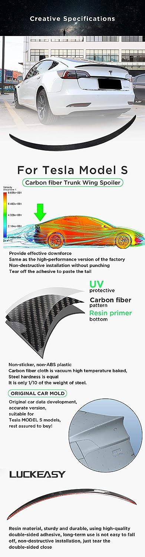 LUCKEASY High Performance Version Carbon Fiber Trunk Wing Spoiler for Tesla Model 3 2017-2019 Resin Trunk Spoiler Wing